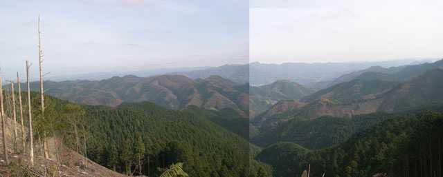 伐採地から見る奥久慈男体山