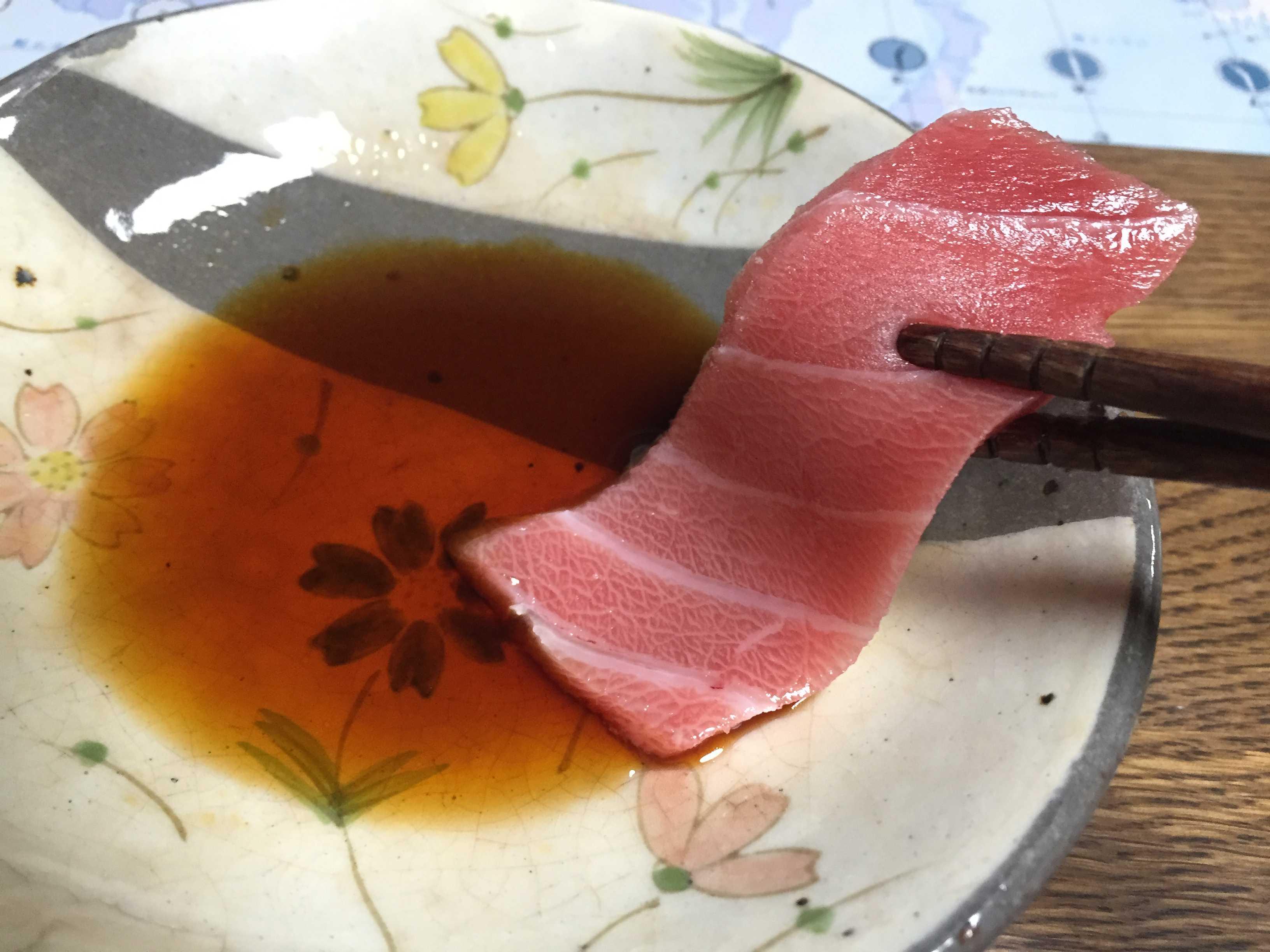 天然醸造醤油「五郎左衛門」と中トロ