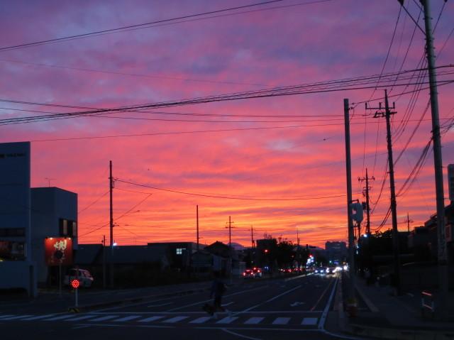 高崎の真っ赤な夕焼け