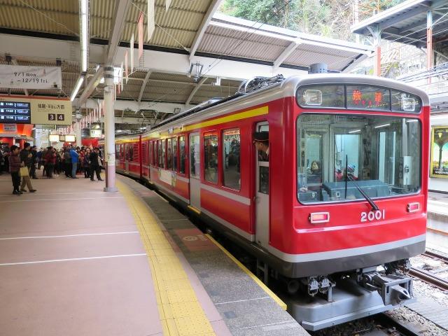 強羅行きの箱根登山鉄道
