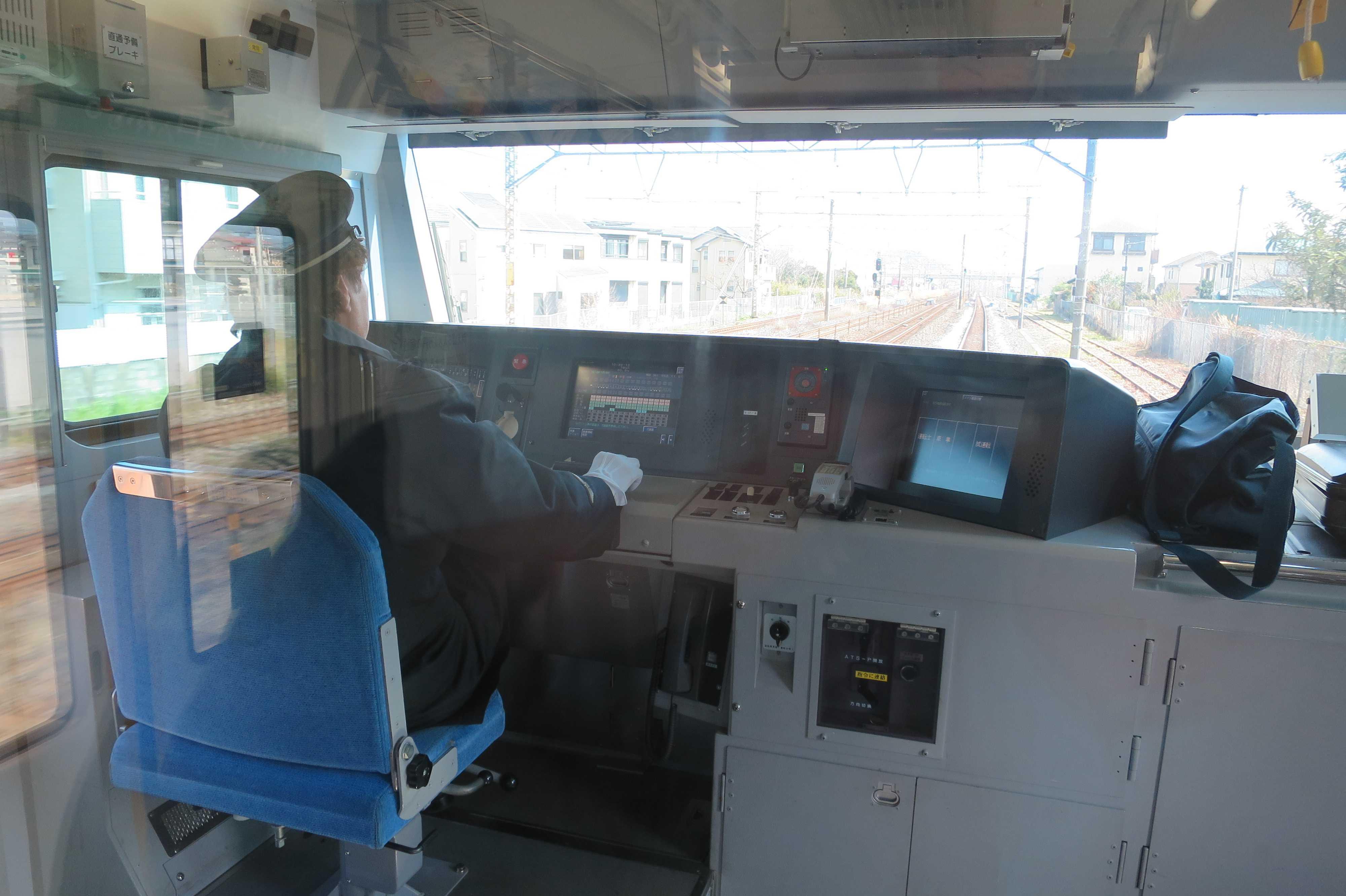 東海道線の運転席