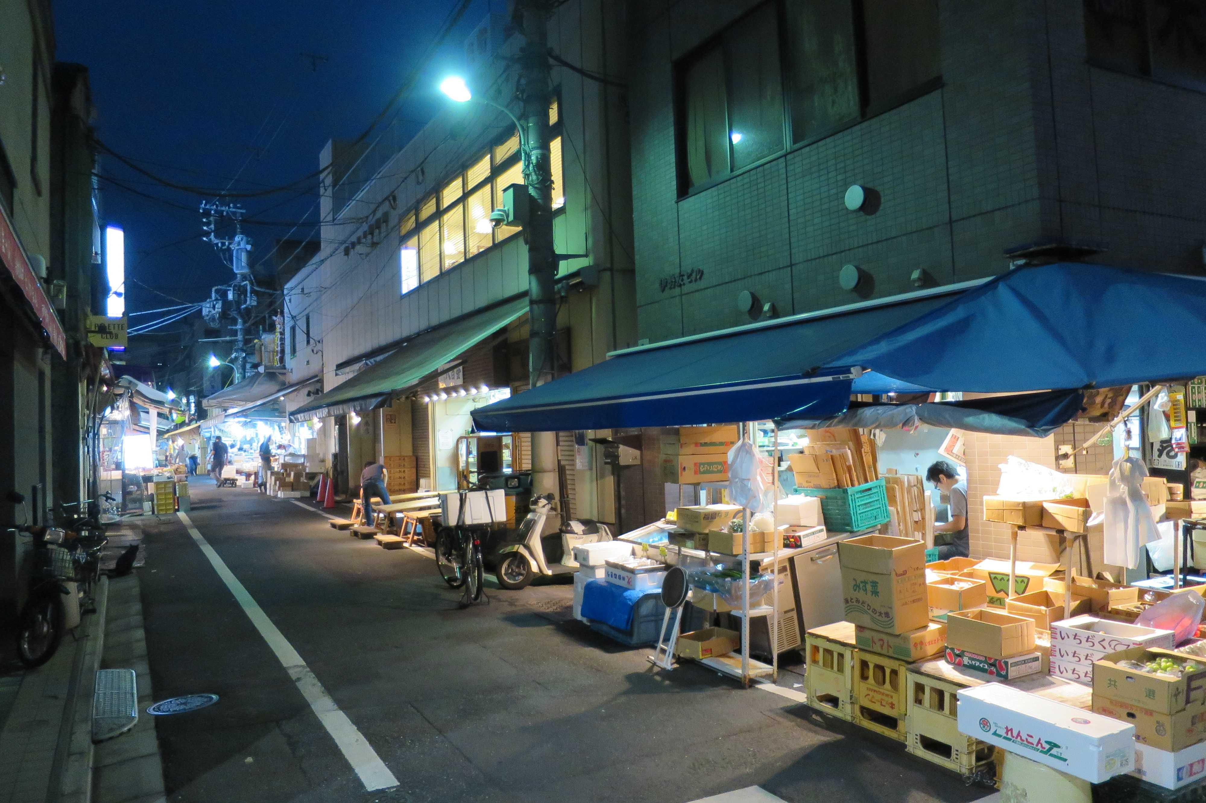 築地場外市場 - 朝5時過ぎの築地市場 場外