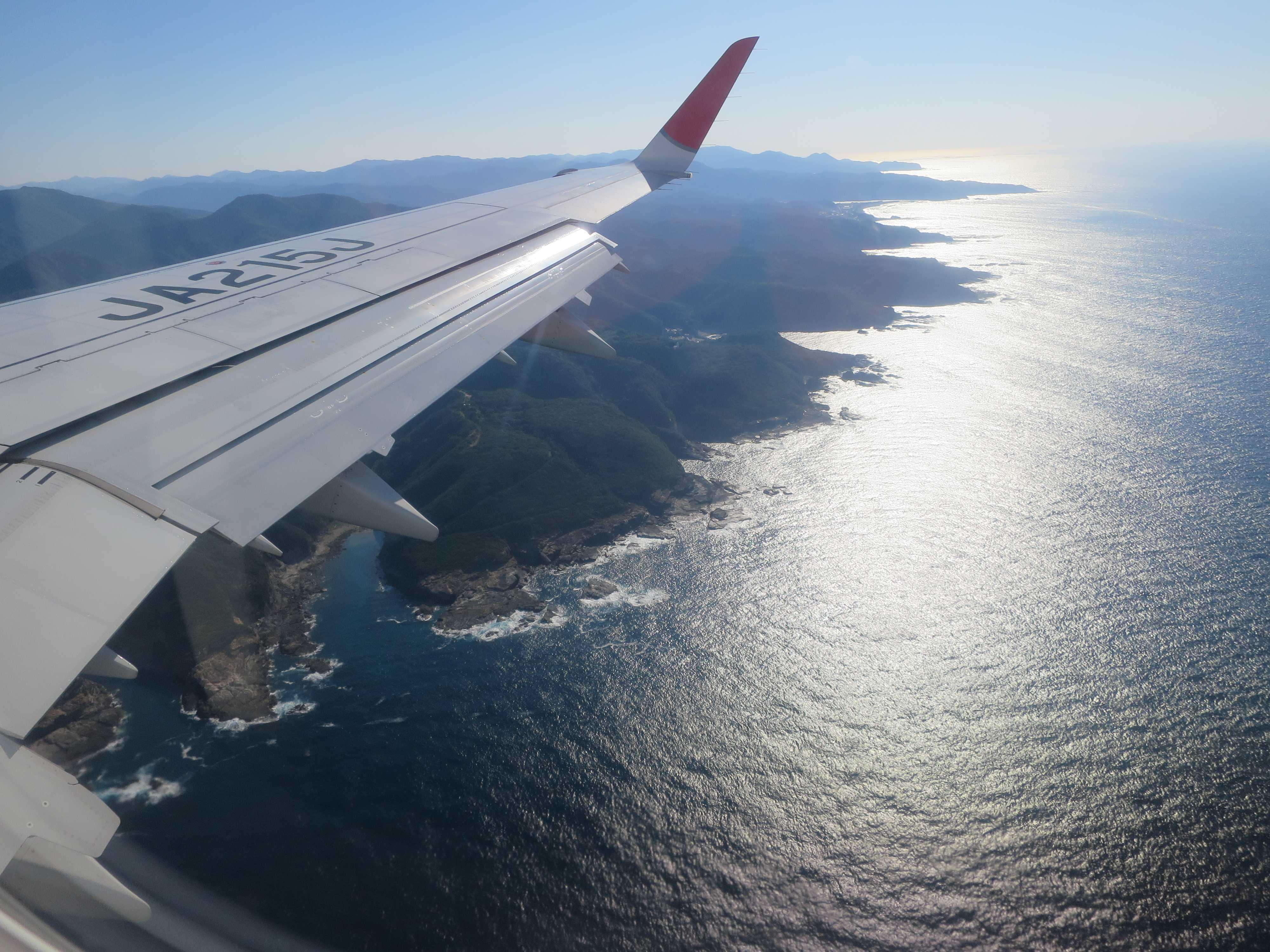 熊野古道1: 美しき紀の国(木の国)!紀伊半島を空中から眺める。和歌山到着。