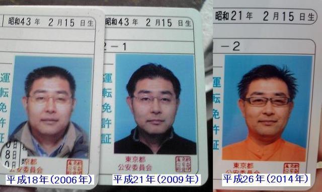 村内伸弘の免許証写真の変遷  2006年→2009年→2014年