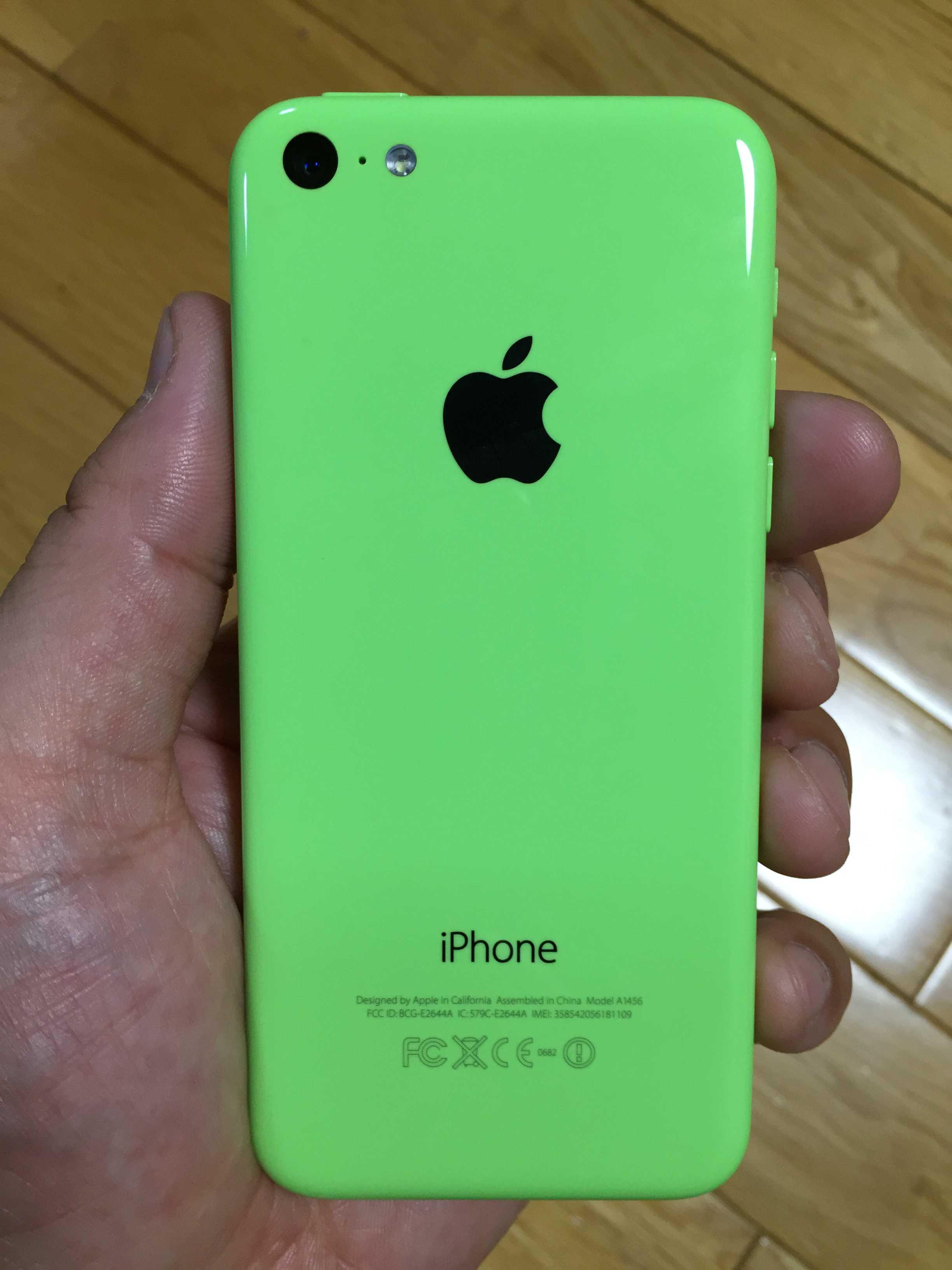 蛍光グリーンの iPhone 5c