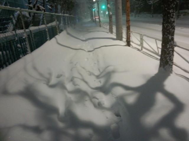 大雪で埋まる歩道