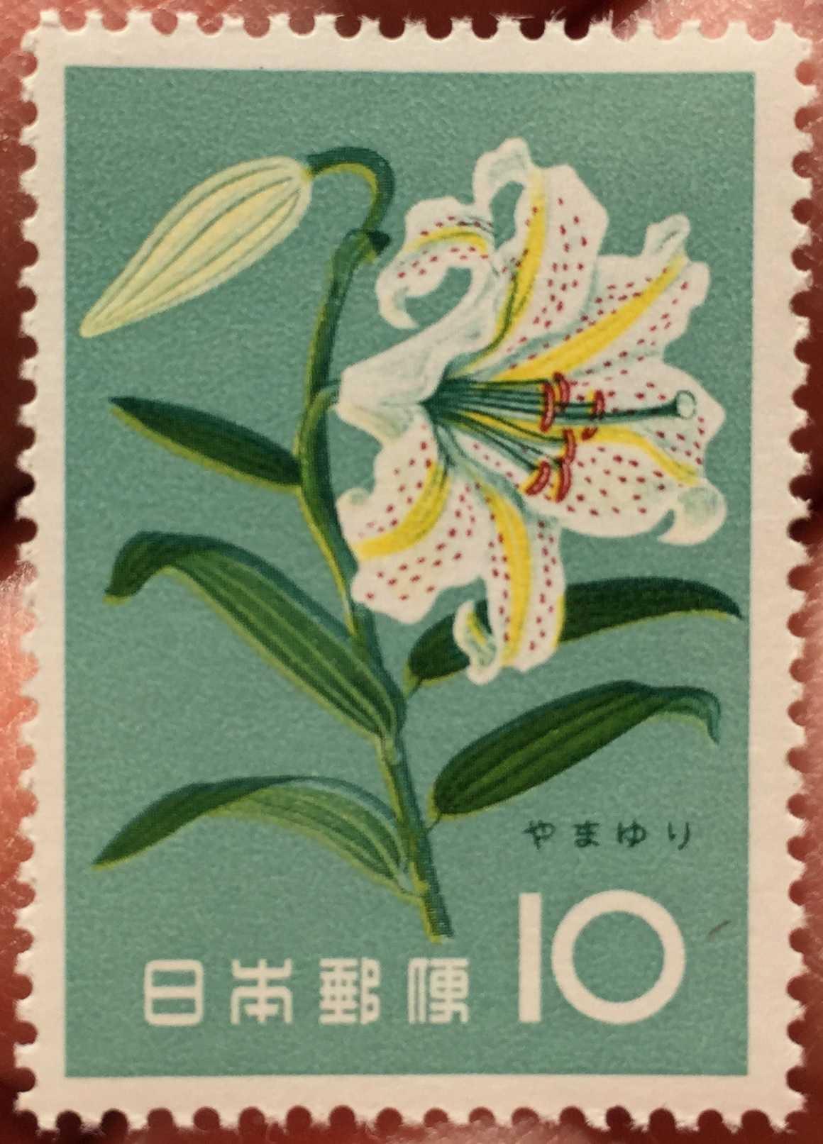 図柄: やまゆり 花シリーズ切手 発行日:昭和36年7月15日(1961年)