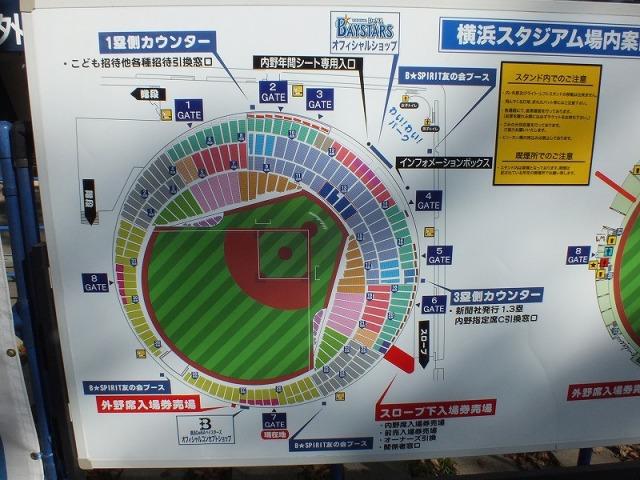 横浜スタジアムの場内案内板