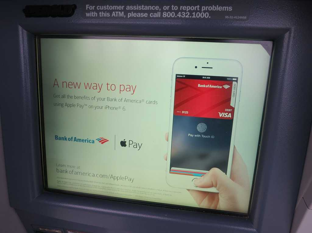 Bank of Americaの ATM画面