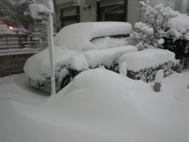 屋根に雪が積もった車
