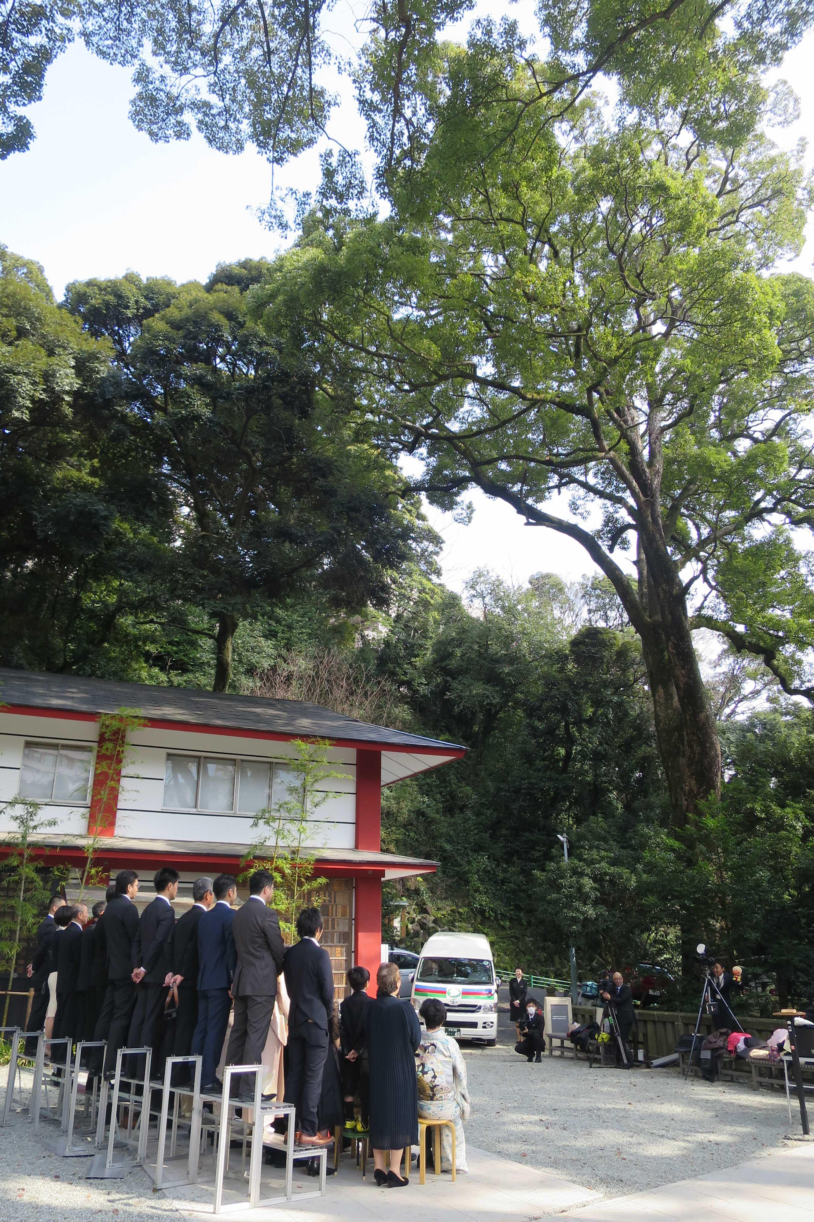 来宮神社 - 白無垢の花嫁を囲んだ記念撮影を後から