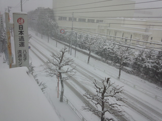 ムラウチドットコム本社前の雪の道路
