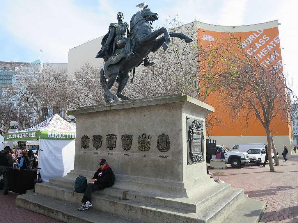 サンフランシスコ - シビックセンターのシモン・ボリバル(Simon Bolivar)の銅像