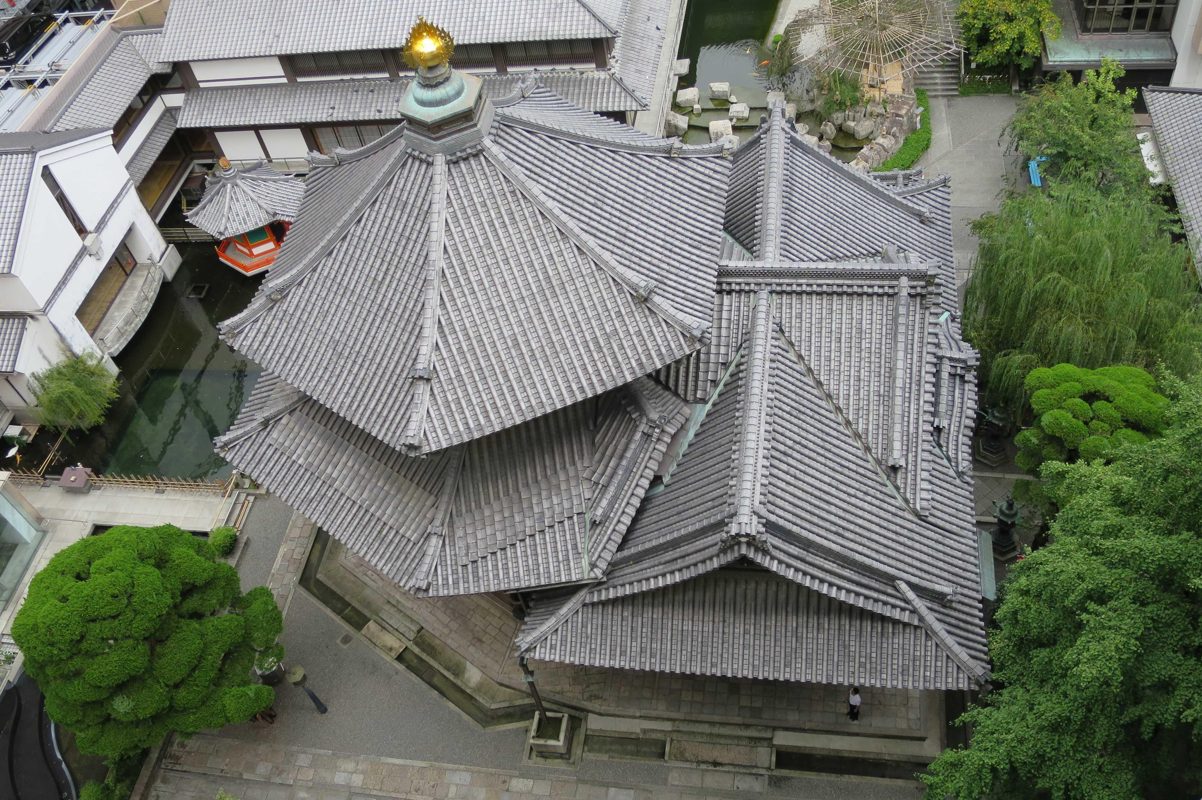上から見た六角堂の六角形の屋根