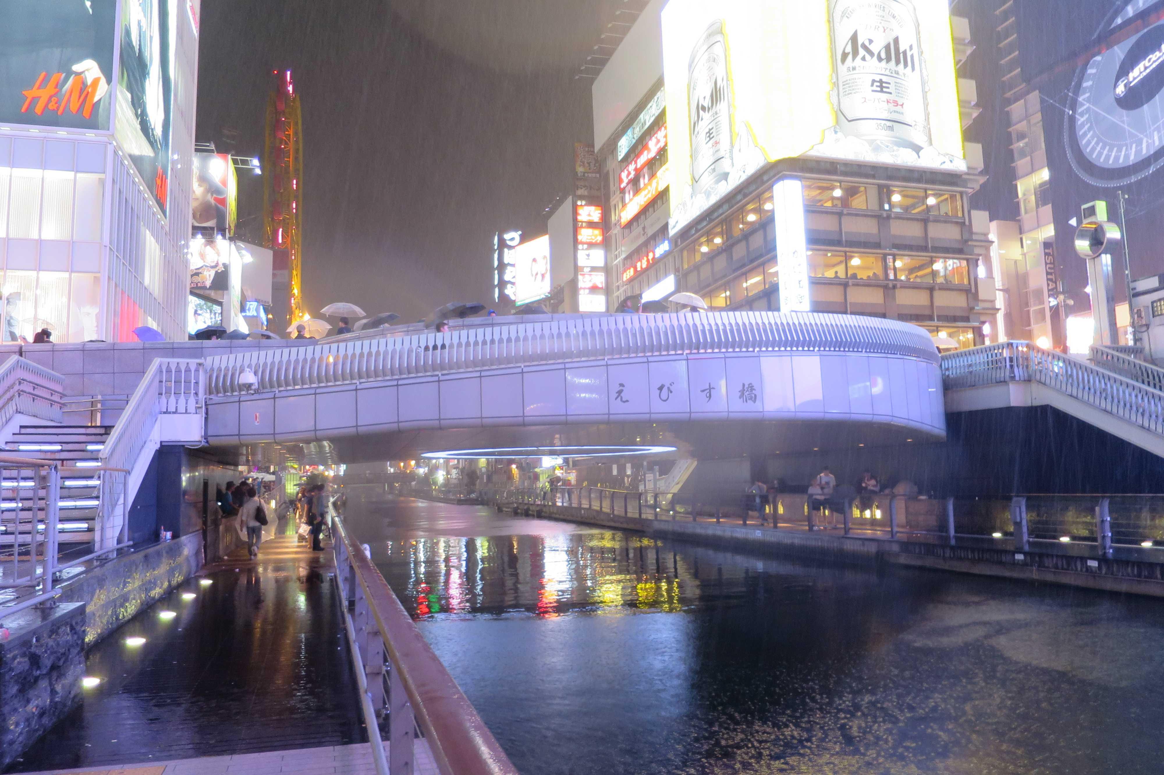 大阪・道頓堀 - えびす橋(ひっかけ橋)の夜景