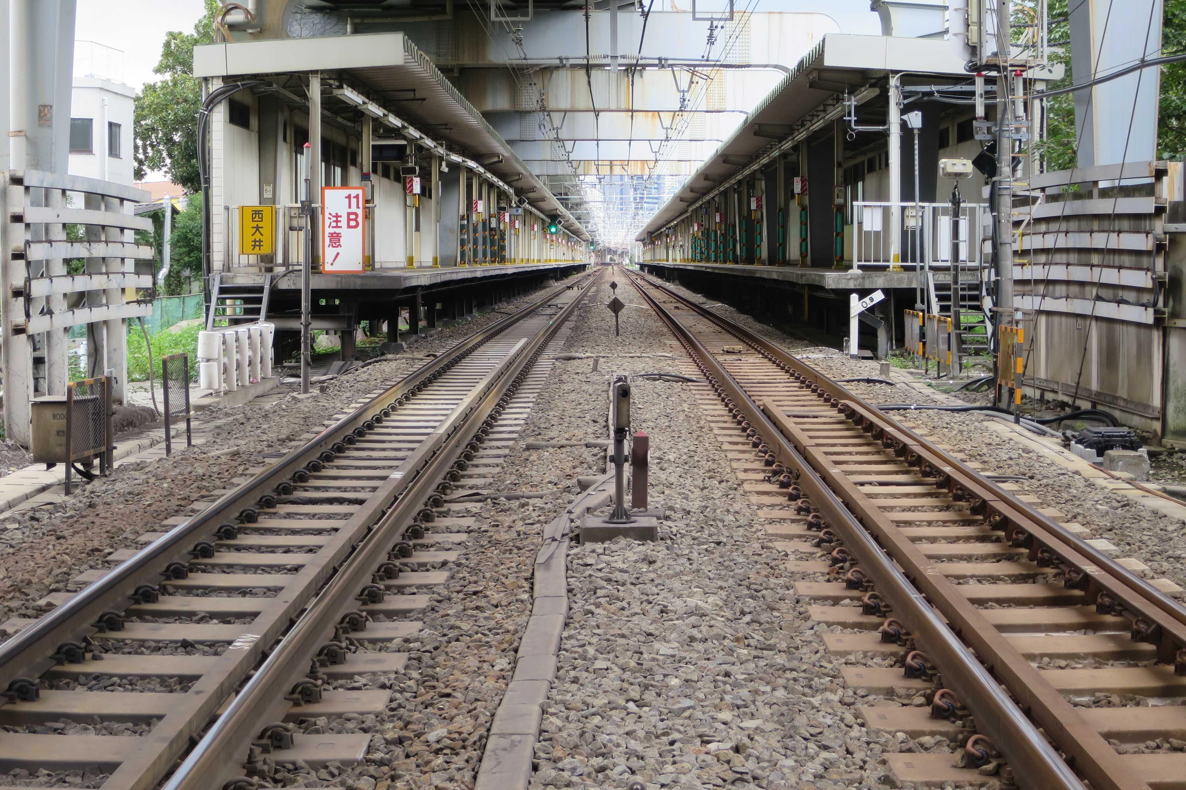 踏切から撮った西大井駅のホーム
