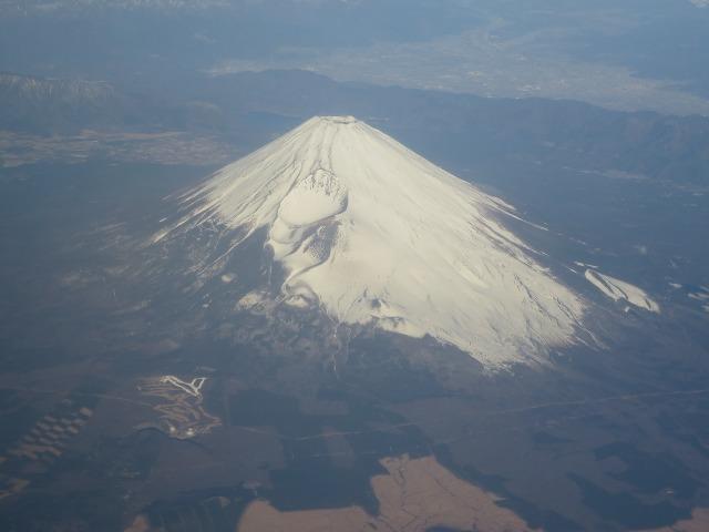 上空から見えた富士山
