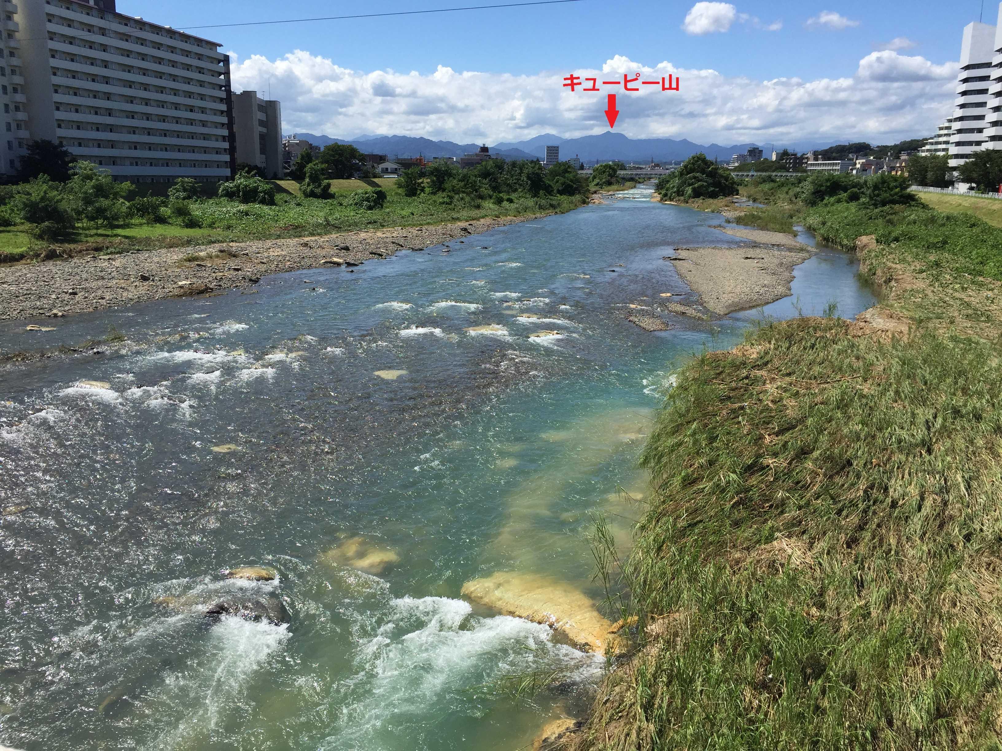 浅川から見えるキューピー山(大岳山)