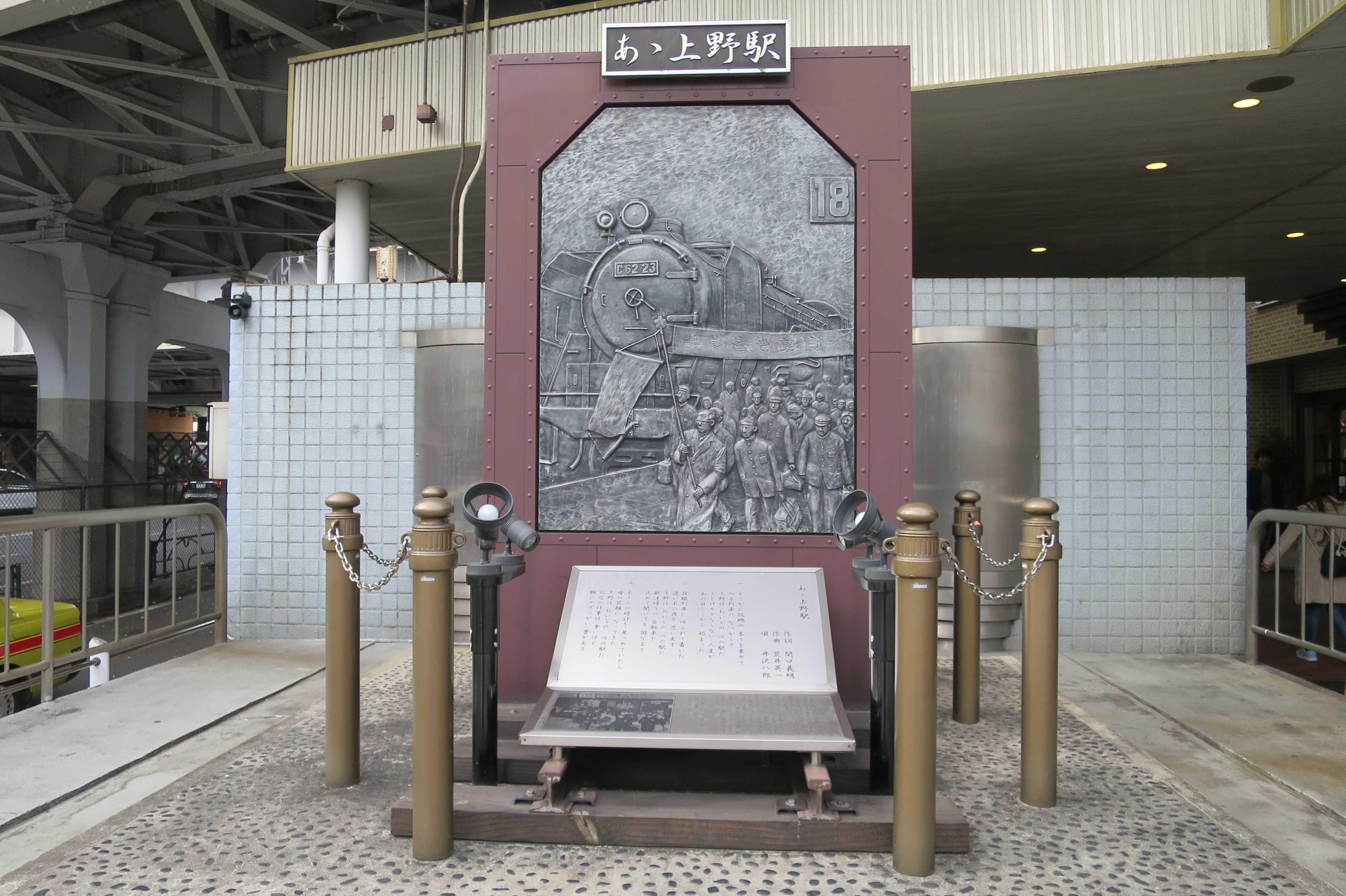 「あゝ上野駅」の歌碑