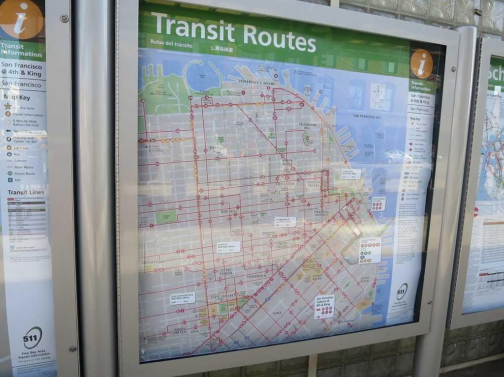 サンフランシスコの路線図(Transit Routes)