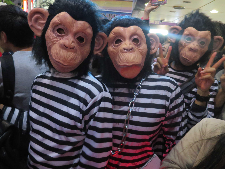渋谷ハロウィン - 囚人服を着た猿(サル)