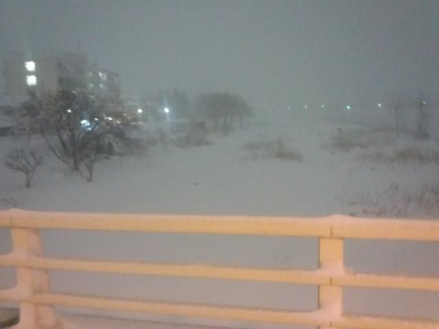 大雪に見舞われる浅川(東京都八王子市)