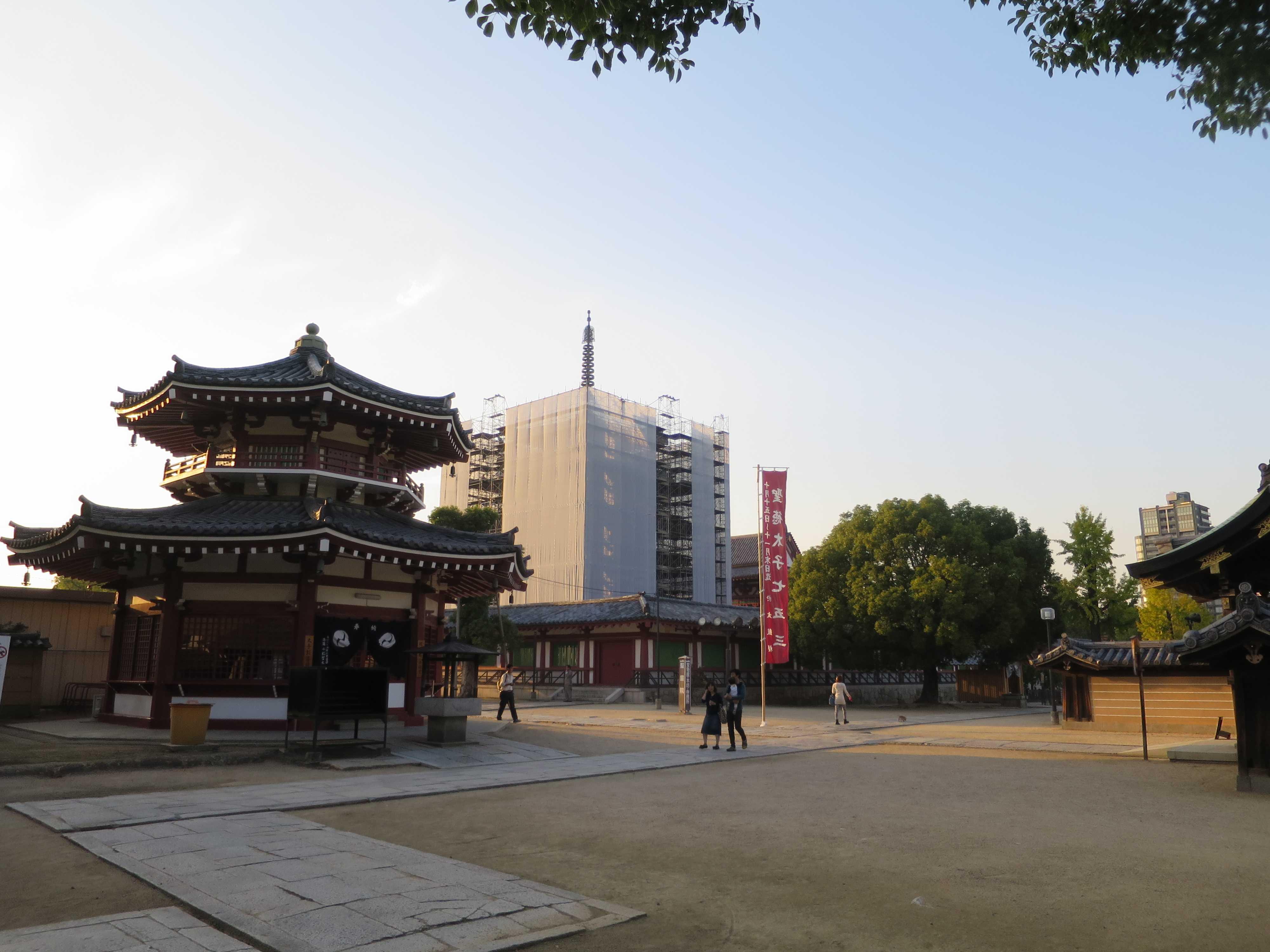 耐震改修工事の四天王寺五重塔