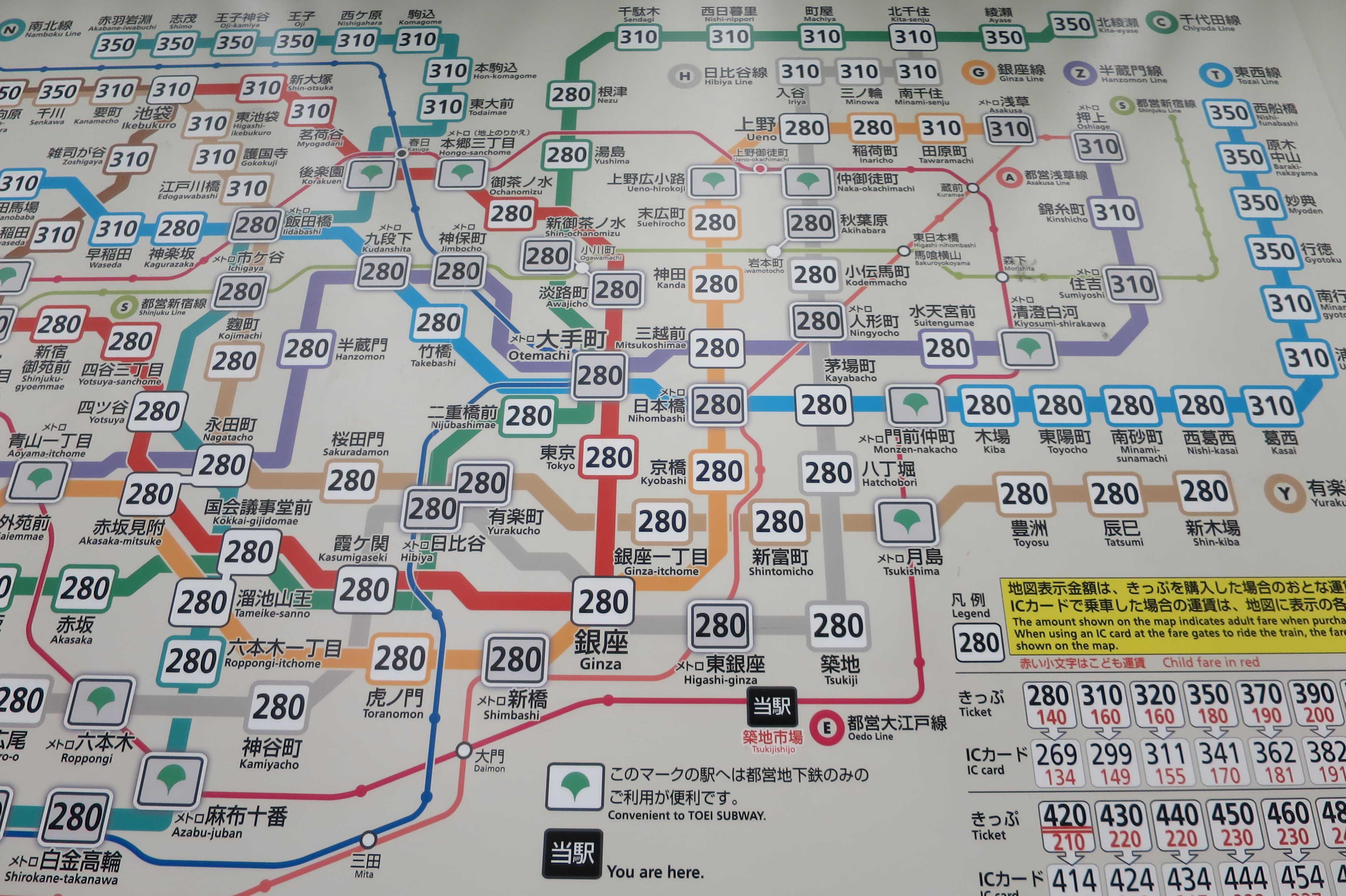 築地エリア - 大江戸線 路線図(築地市場駅)
