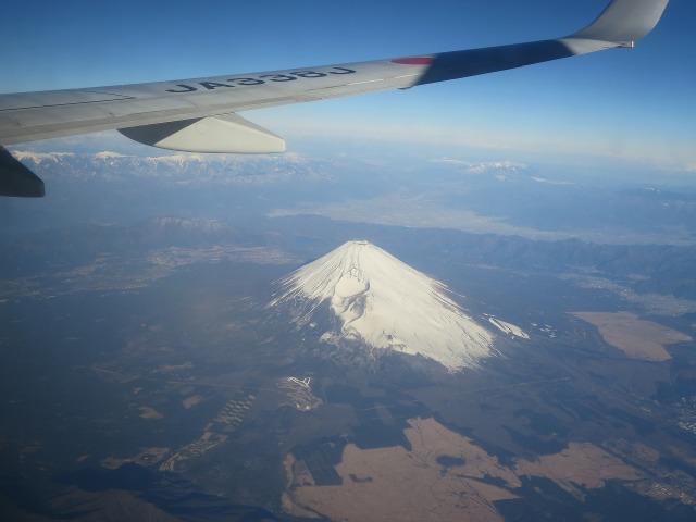 飛行機から見た富士山