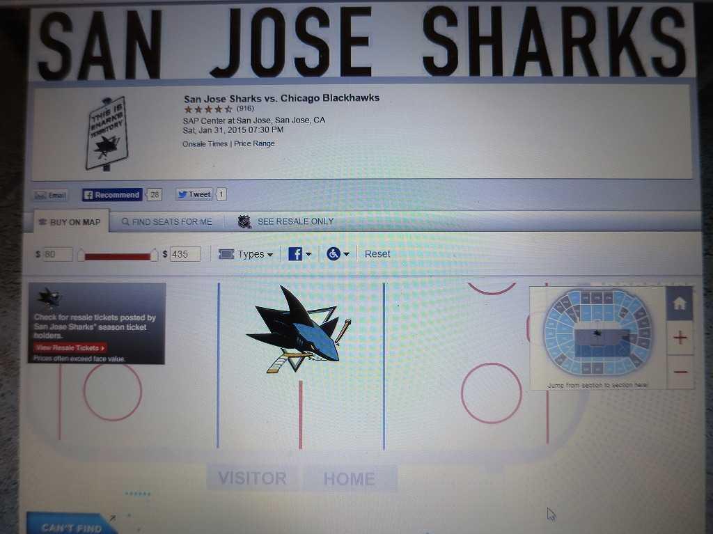 サンノゼ・シャークス対シカゴ・ブラックホークスのチケット購入画面