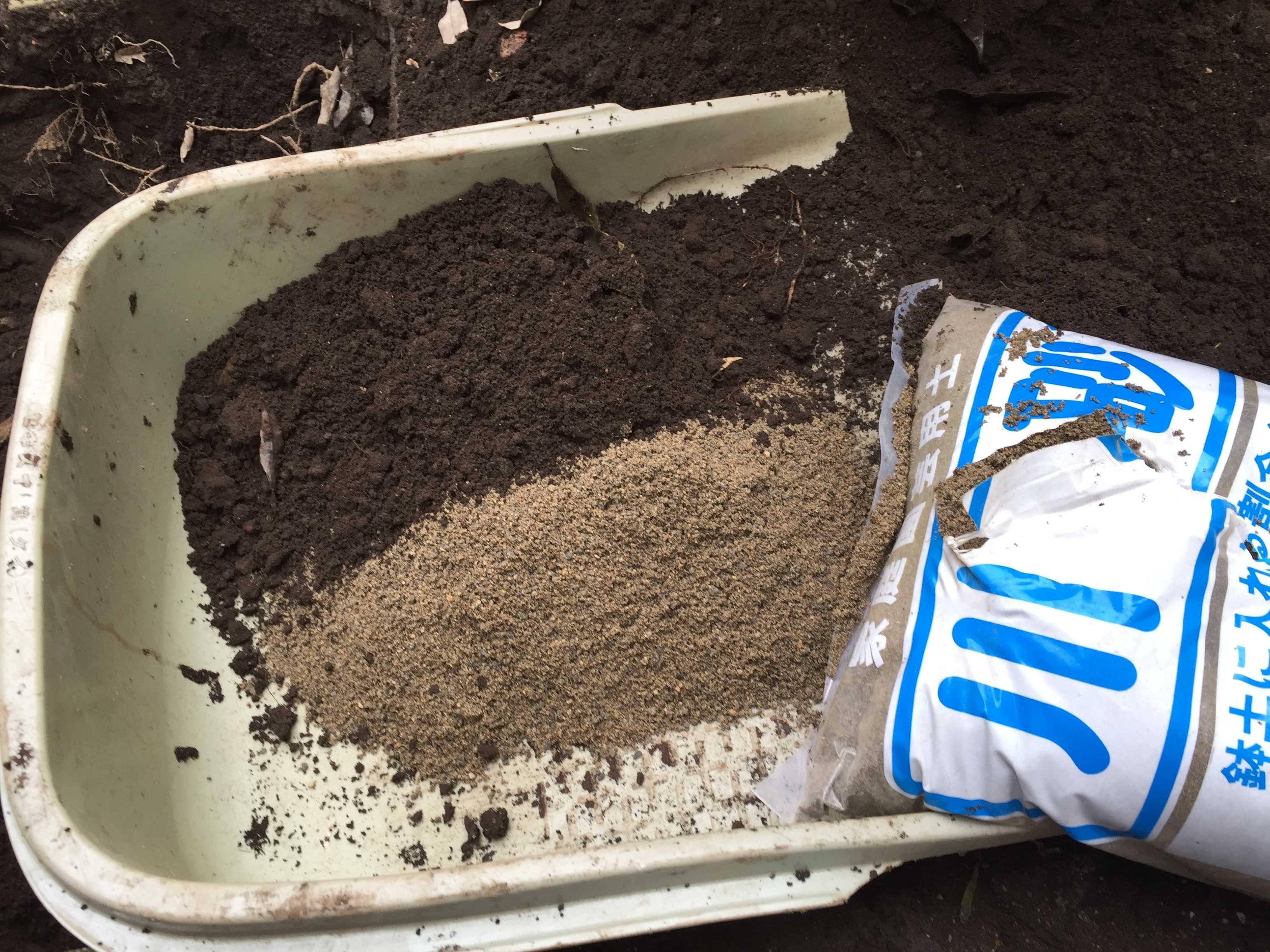 ザクロの植え付け: 掘り出した土と川砂の比率