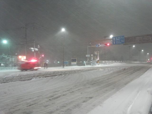 大雪の日の大和田橋南詰