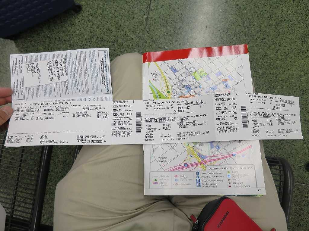グレイハウンドバスのバス乗車チケット