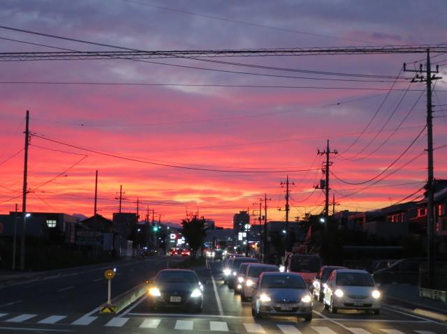 高崎を真っ赤に染める夕焼け