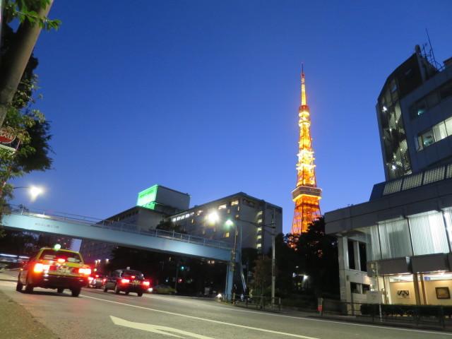 秋の夕暮れに光輝く東京タワー