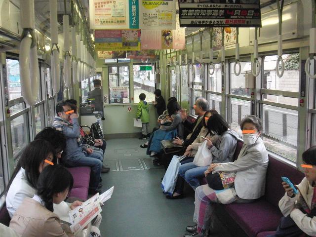 嵐電(京福電車)の車内