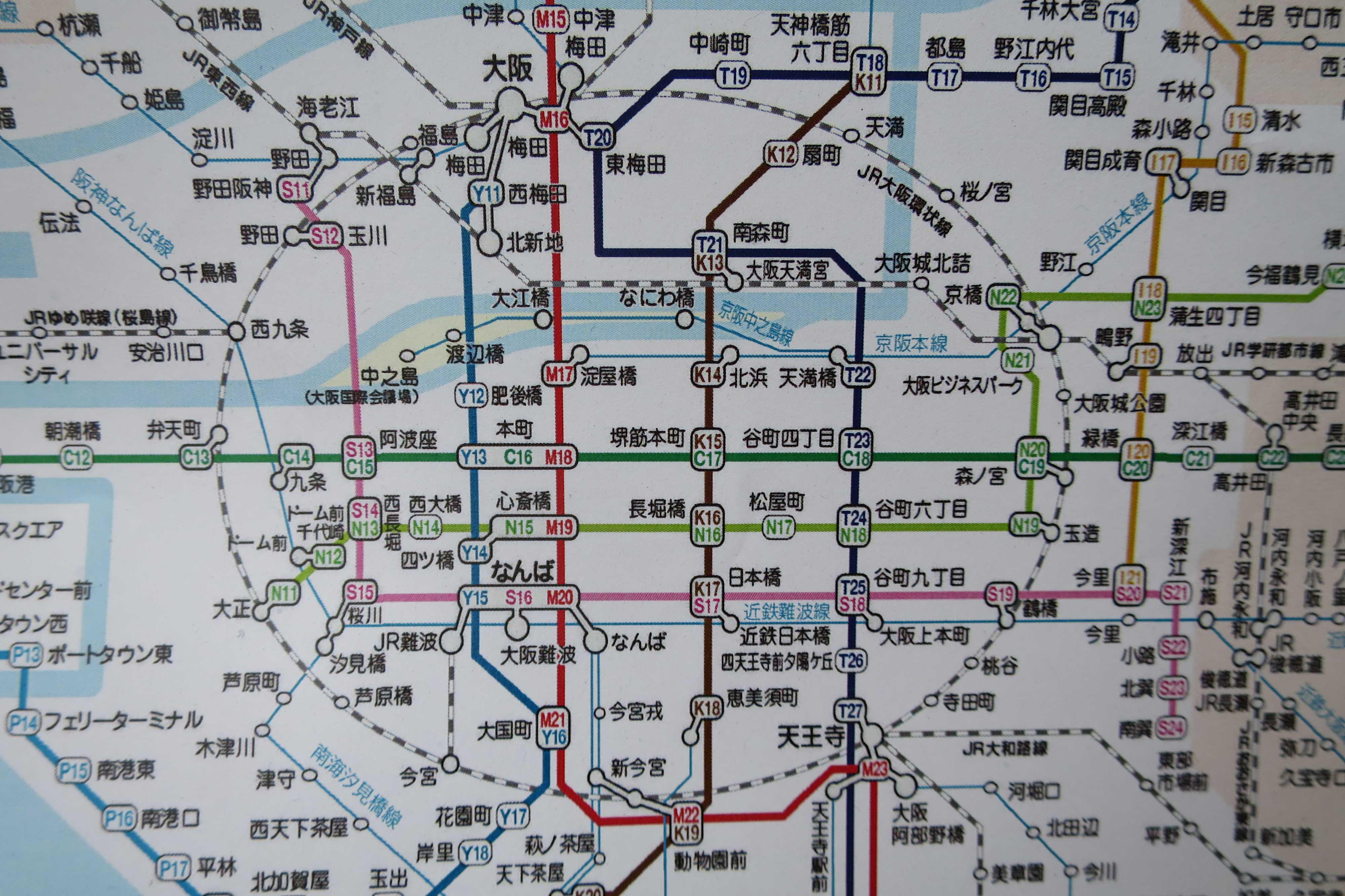 大阪の鉄道路線図