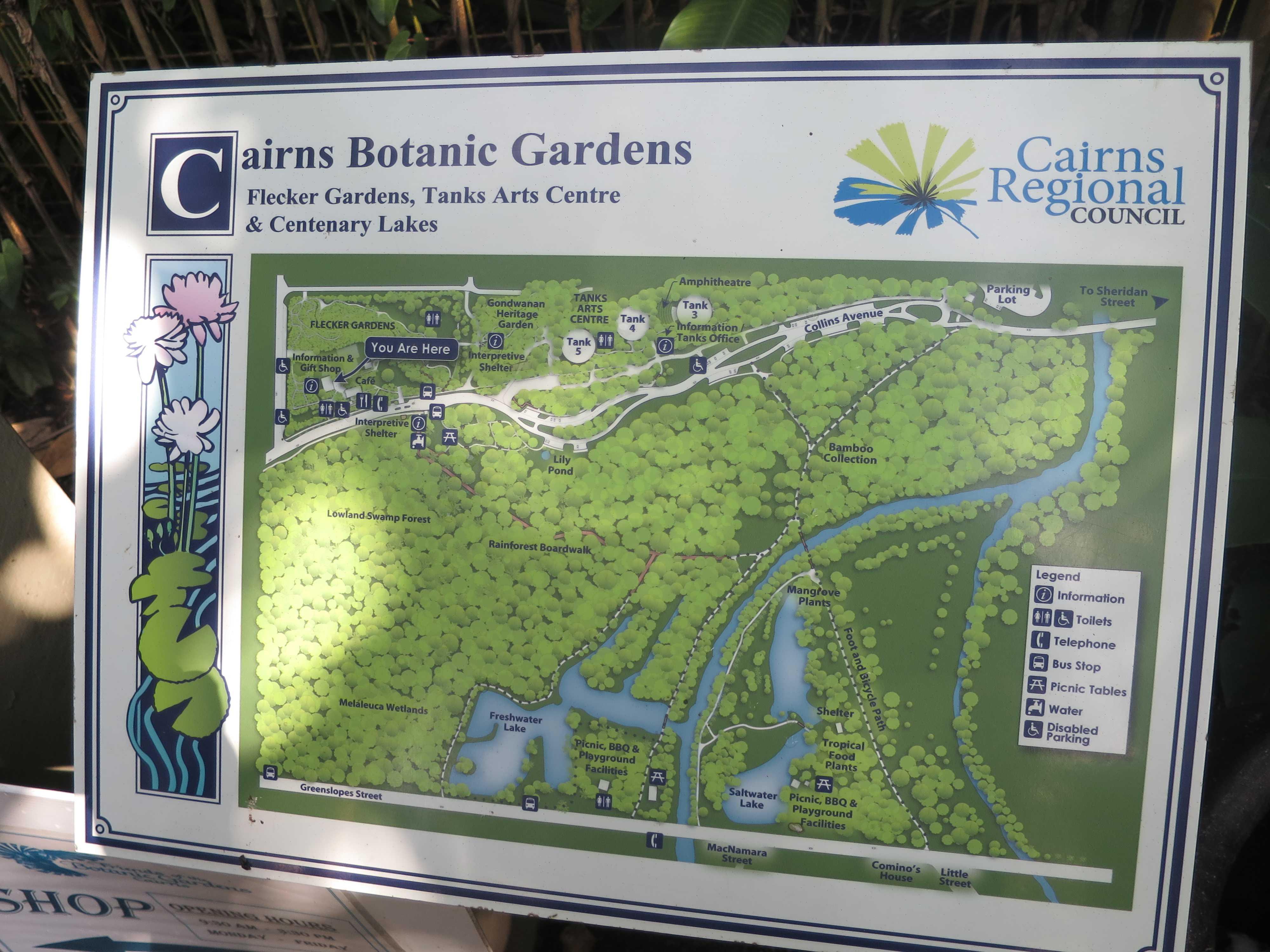 ケアンズ・ボタニック・ガーデンの園内図