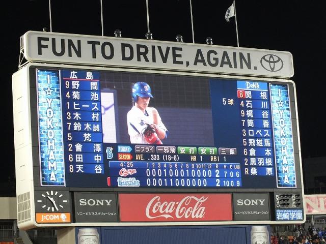 横浜スタジアムの電光掲示板