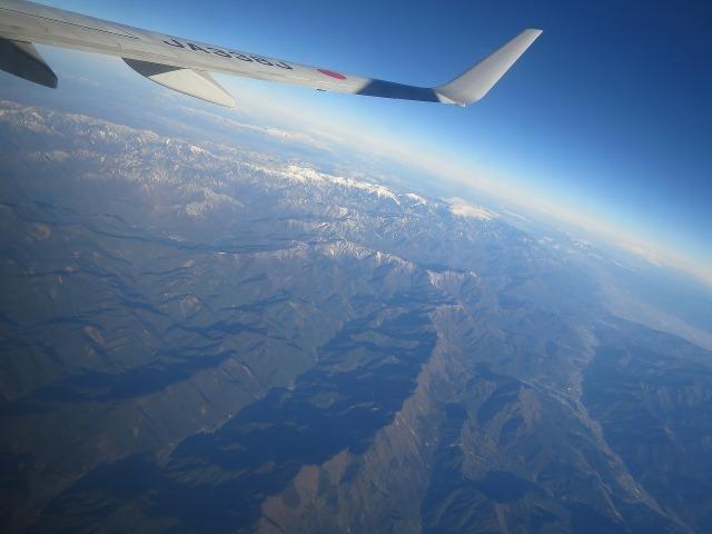 飛行機から見えた中部の山脈