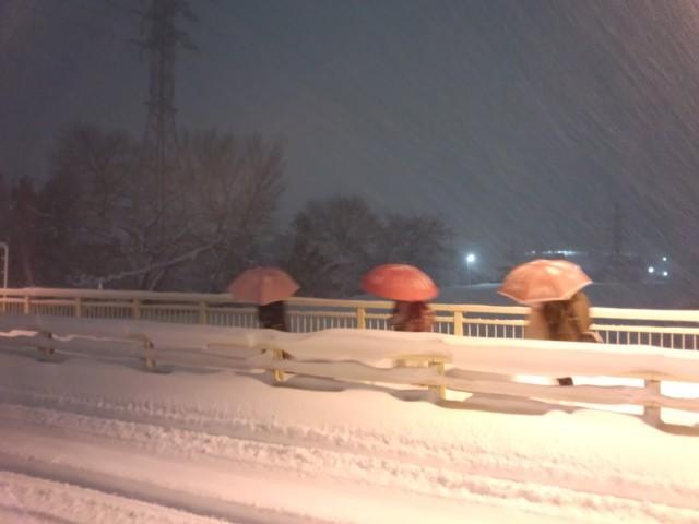 大雪の中、傘を差してあるく3人の女性