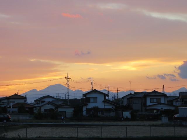 夕焼けの榛名富士