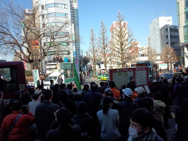 JR三鷹駅で街頭演説する細川護煕&小泉純一郎