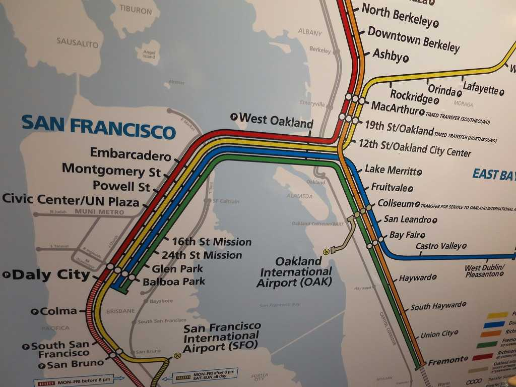 サンフランシスコ - バート(BART)路線図