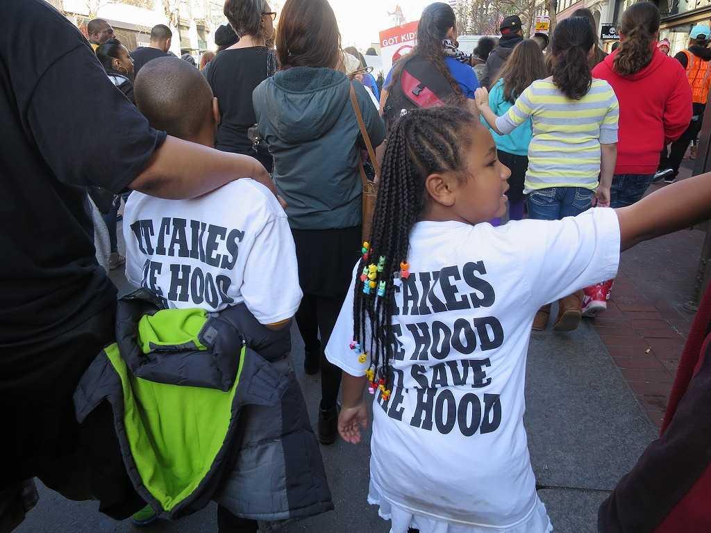 サンフランシスコ - デモ行進する黒人の子ども