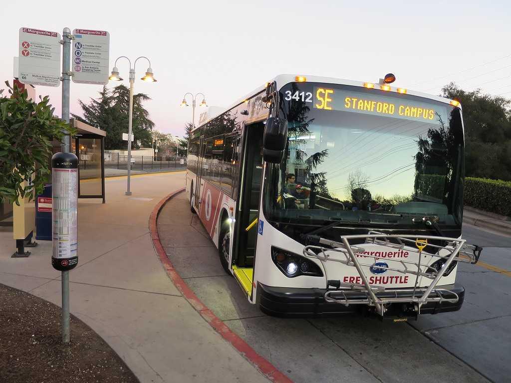 パロアルト駅 - 無料のスタンフォード大学シャトルバス(Marguerite/マルガリータ)