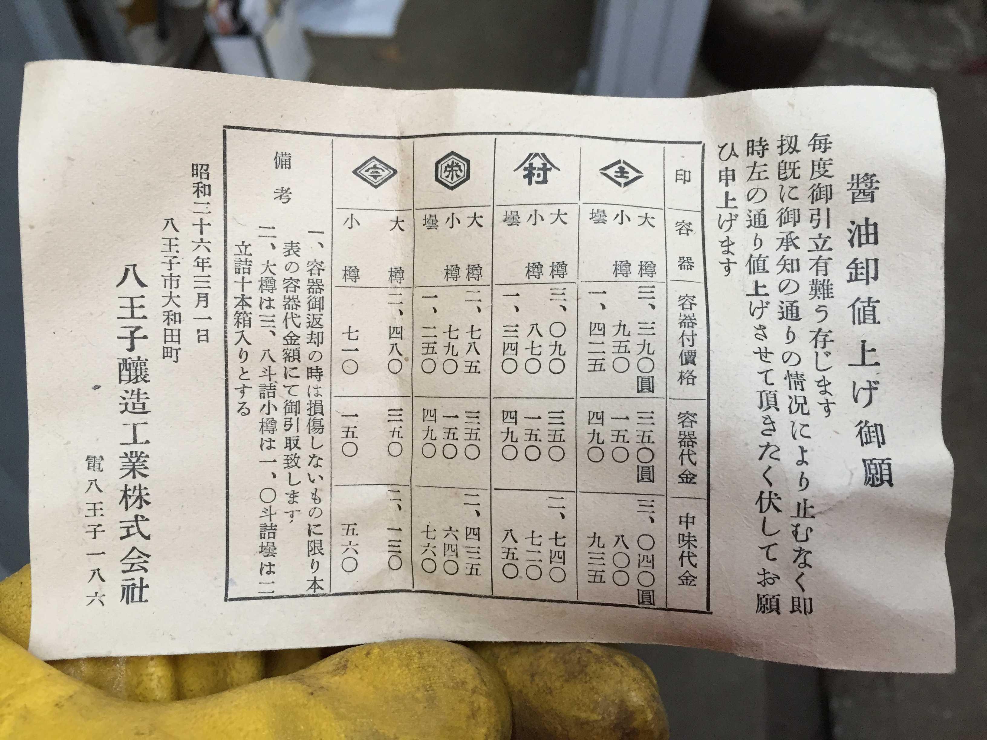 昭和26年3月1日、八王子醸造工業の醤油卸値上げ御願い葉書