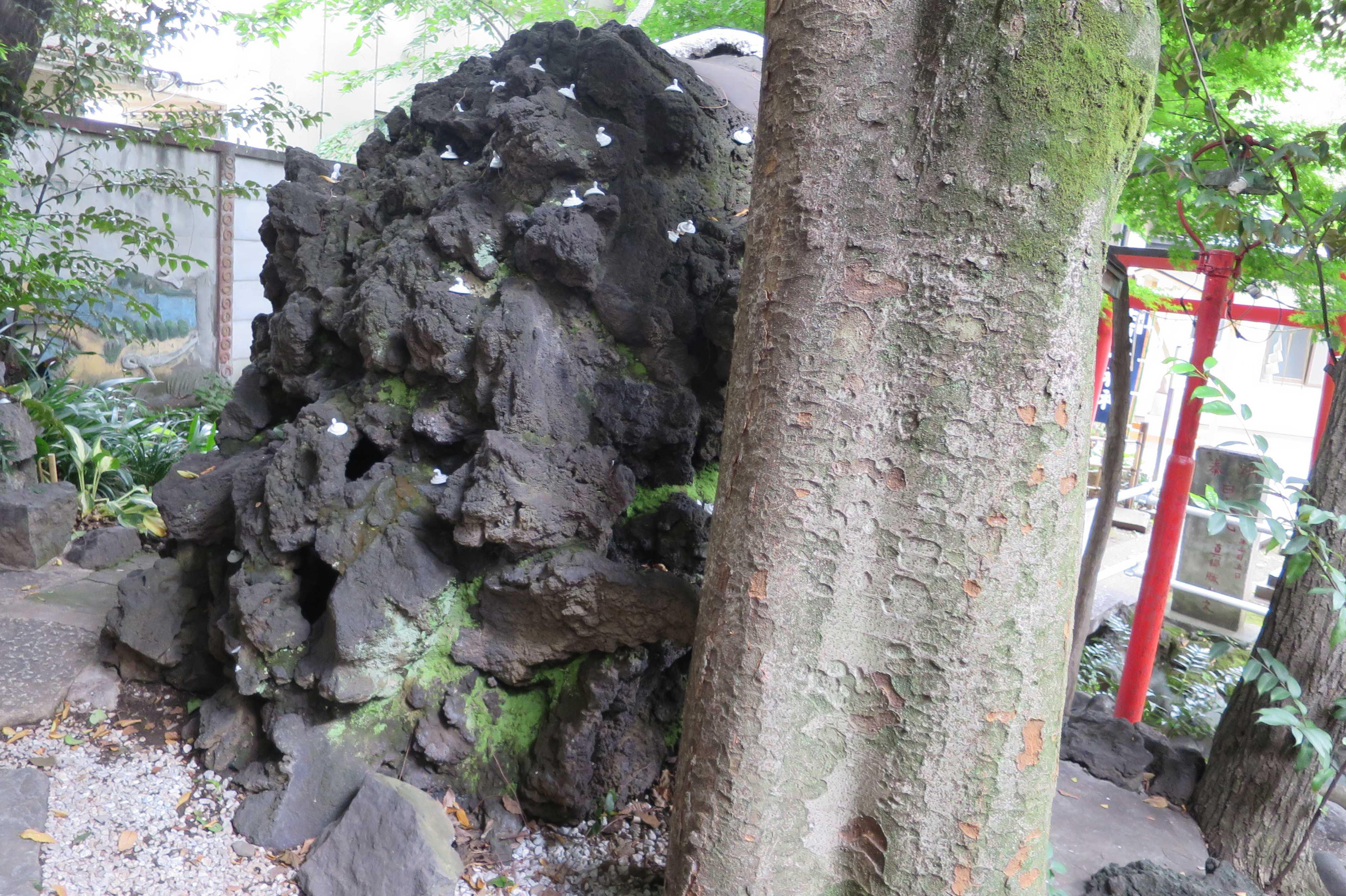 弁財天の祠の白蛇置物(上神明天祖神社)
