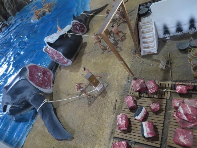 高知城のジオラマ - 捕鯨した鯨の鯨肉
