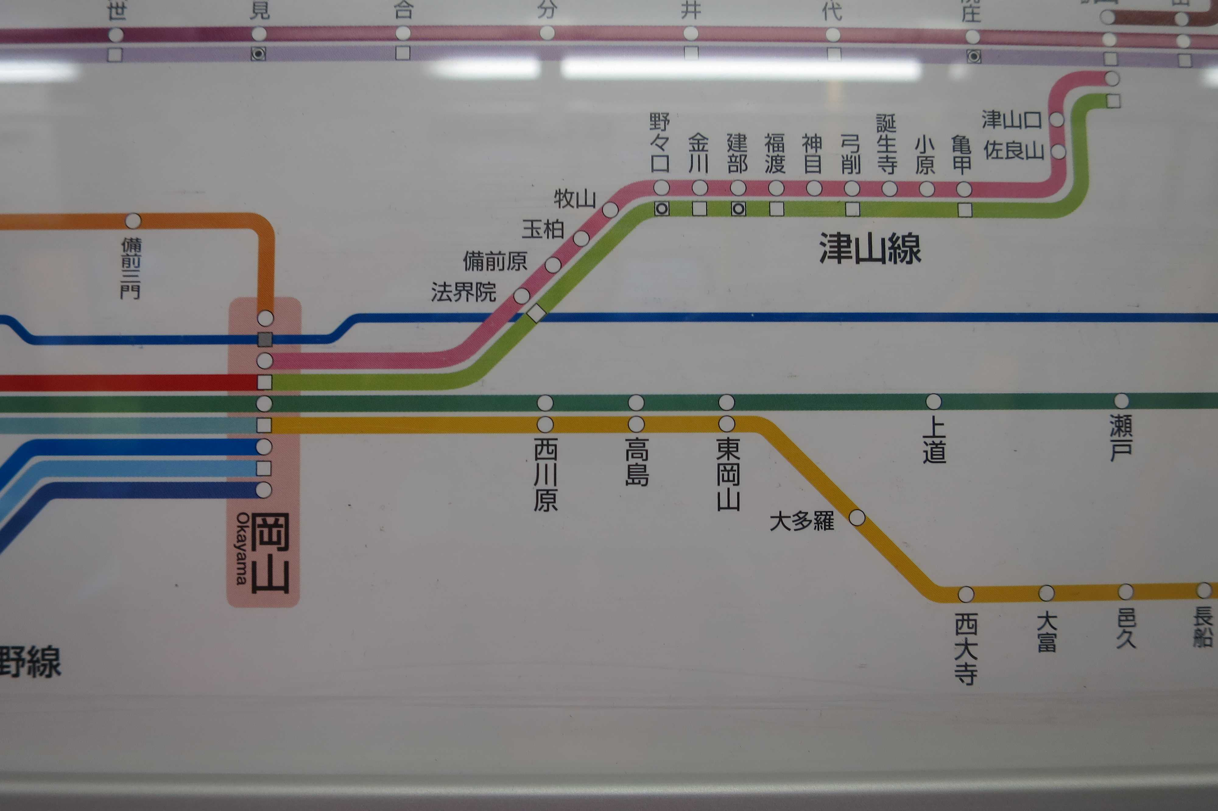 赤穂線の路線図(岡山~西大寺)